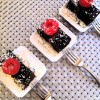 Cake, chocolate and raspberry, mini dessert plating