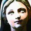 Saint Bernadette statue colorized